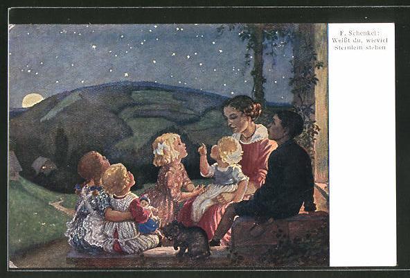 Künstler-AK Franziska Schenkel: Weisst du wieviel Sternlein stehen, Kinder unterm Sternenhimmel