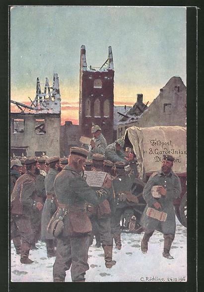 Künstler-AK sign. C. Röchling: Feldpost der 3. Garde-Infanterie, Soldaten am Planwagen