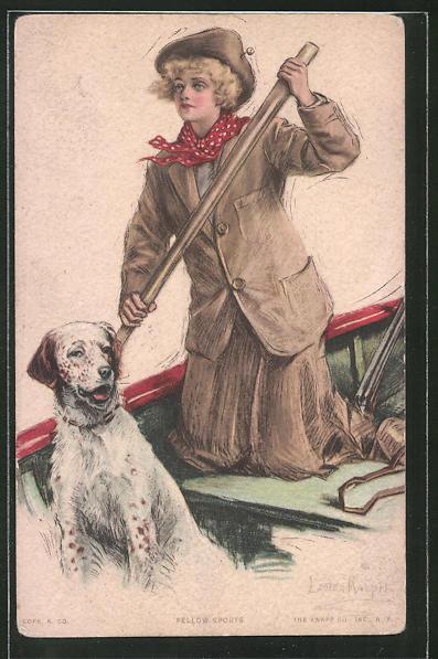 Künstler-AK Lester Ralph: Fellow Sports, Frau mit Jagdhund im Ruderboot