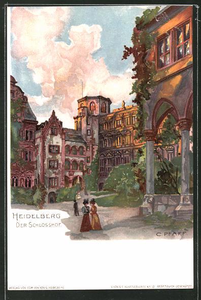 Künstler-AK C. Pfaff: Heidelberg, Partie im Schlosshof