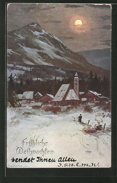 Künstler-AK August Splitgerber: Dorflandschaft im Winter unterm Vollmond