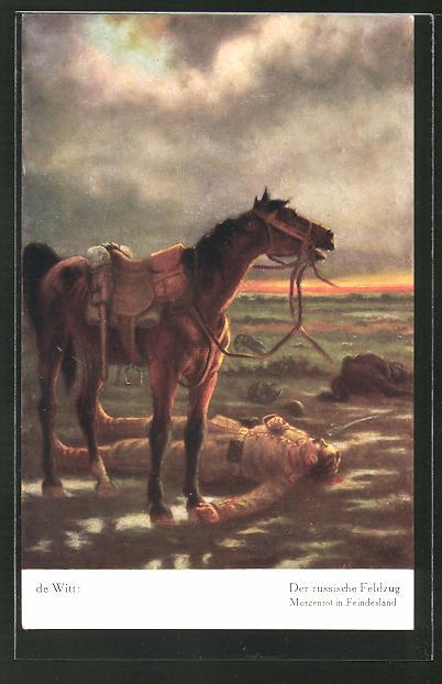 Künstler-AK sign. de Witt: Der russische Feldzug, Pferd wiehert vor dem toten Soldaten
