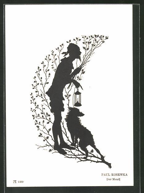 Künstler-AK Paul Konewka: Shakespeares Sommernachtstraum, Der Mond, Scherenschnitt