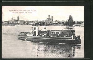 AK Trajektschiff Putbus mit dem D.-Zuge fährt von Stralsund nach Rügen