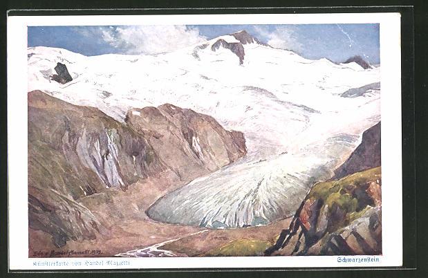 Künstler-AK Edo v. Handel-Mazzetti: Schwarzenstein und Schwarzensteinkees, Gletscher