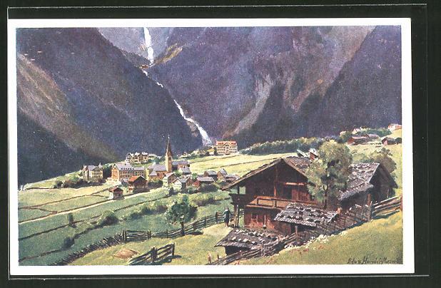 Künstler-AK Edo v. Handel-Mazzetti: Krimml, gegen die Krimmler Wasserfälle