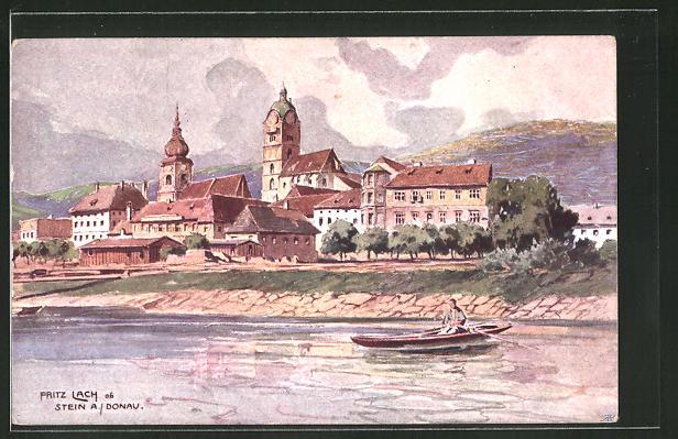 Künstler-AK Fritz Lach: Stein a/Donau, Panorama