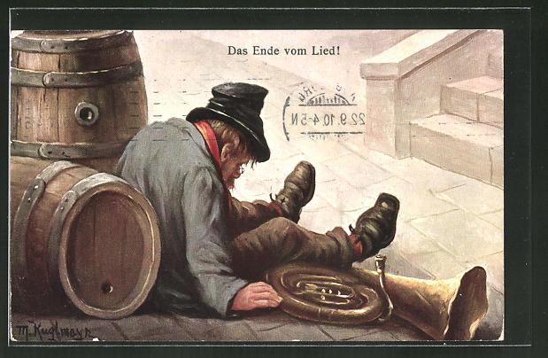 Künstler-AK Max Kuglmayr: Das Ende vom Lied, betrunkener Strassenmusikant