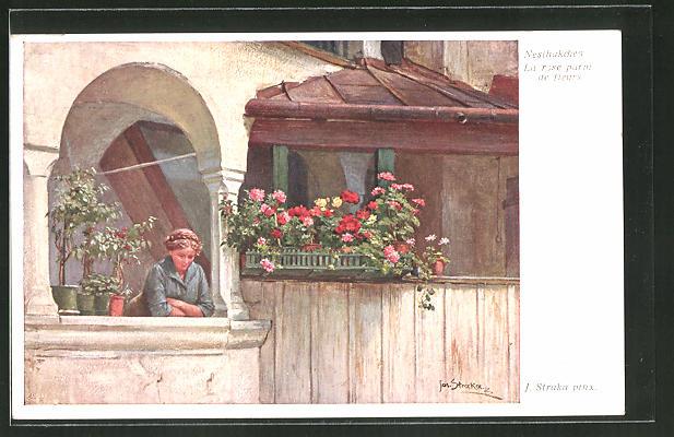 Künstler-AK Josef Straka: Nesthäkchen, Mädchen auf Balkon