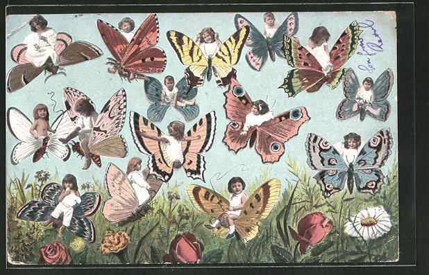 AK Kinder fliegen auf Schmetterlingen über die Wiese