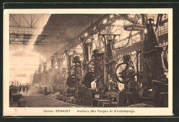 AK Usines Renault, Ateliers des Forges et d'estampage, Arbeiter in der Autofabrik