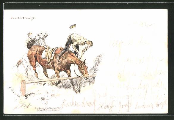 Künstler-AK Carl Becker: Das Hindernis, Soldat stürzt beim Sprung mit dem Pferd