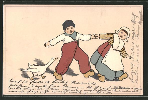 Künstler-AK Ethel Parkinson: Holländisches Kinderpaar wird von einer Gans verfolgt