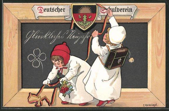 Künstler-AK E. Reckziegel, Deutscher Schulverein: Kinder hängen Bänder mit Deutschlandfarben an die Tafel