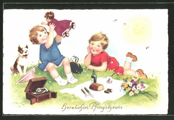 AK Kinder beim Picknick mit Plattenspieler