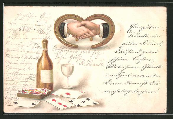 Lithographie Handschlag beim Kartenspiel