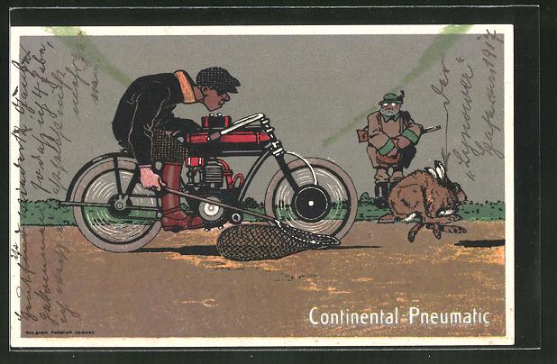 AK Reklame Continental Pneumatic, Motorradfahrer als Hasenjäger