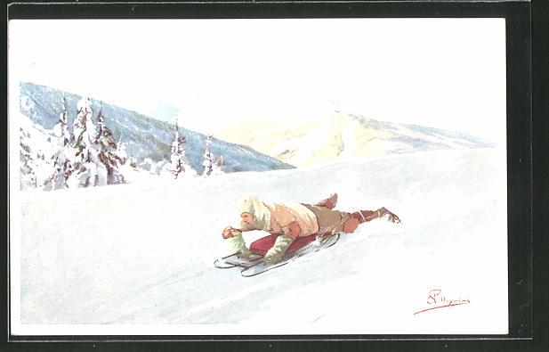 Künstler-AK Carlo Pellegrini: Wintersportler bäuchlings bei der Abfahrt auf dem Schlitten