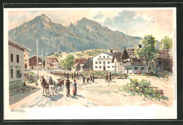 Künstler-AK Edward Harrison Compton: Kochel, Dorfpartie mit Alpenblick