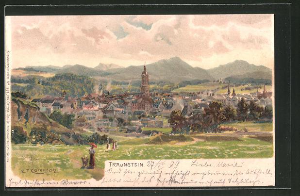 Künstler-AK Edward Theodore Compton: Traunstein, Panorama