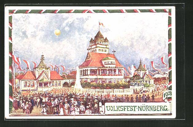 Künstler-AK Nürnberg, Festplatz auf dem Volksfest, Ganzsache Bayern PP15 C145 0