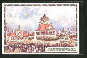 Künstler-AK Nürnberg, Festplatz auf dem Volksfest, Ganzsache Bayern PP15 C145