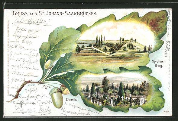 Passepartout-Lithographie St. Johann-Saarbrücken, Spicherer Berg und Ehrenthal in Eichenblättern