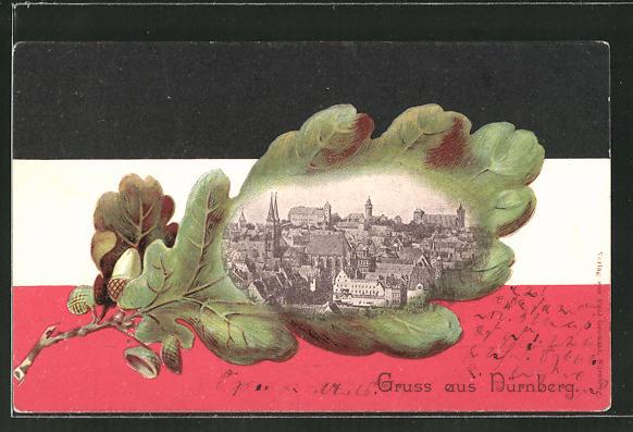 Passepartout-Lithographie Nürnberg, Ortsansicht in einem Eichenblatt