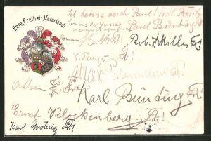 Präge-AK Göttingen, Burschenschaft Alemannia, Studentenwappen, Ehre, Freiheit, Vaterland