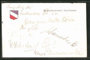 AK Göttingen, Studentenwappen der Burschenschaft Alemannia