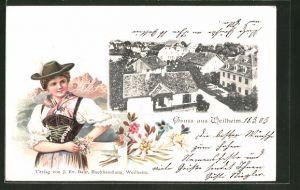 Passepartout-Lithographie Weilheim, Blick über den Ort, Frau in Tracht