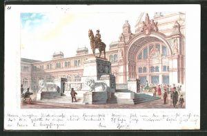 Lithographie Nürnberg, Denkmal des Prinzregenten Luitpold von Bayern mit dem neuen Centralbahnhof