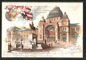Lithographie Nürnberg, Prinzregenten-Denkmal vor dem neuen Hauptbahnhof