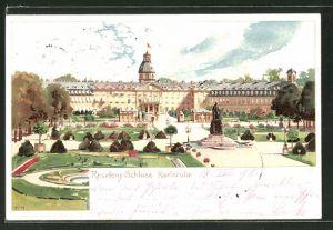 Künstler-AK Heinrich Kley: Karlsruhe, Residenz-Schloss mit Garten