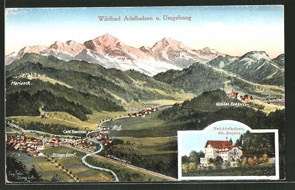 Künstler-AK Eugen Felle: Adelholzen, Hotel Bad Adelholzen, Ortsansicht mit Umgebung