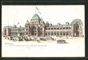 Künstler-AK Nürnberg, Neuer Centralbahnhof mit Prinzregenten-Denkmal