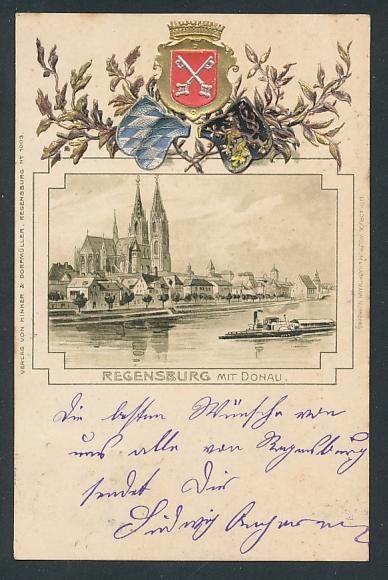 Passepartout-Lithographie Regensburg, Ortspartie mit Dampfer auf der Donau, Wappen