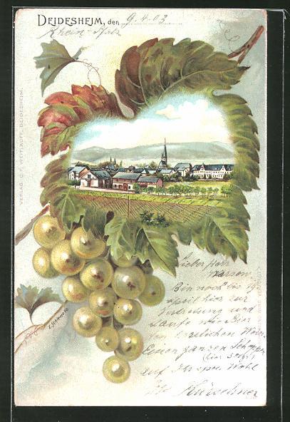 Passepartout-Lithographie Deidesheim, Ortsansicht im Weinblatt mit Trauben