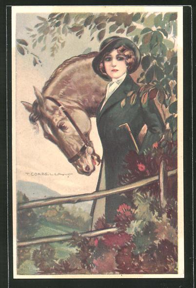 Künstler-AK Tito Corbella: Frau mit Reitgerte und Pferd steht an einem Gebüsch