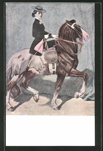 Künstler-AK Angelo Jank: Frau mit Reitgerte auf dem Pferd