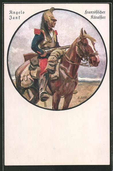 Künstler-AK Angelo Jank: Französischer Kürassier auf dem Pferd