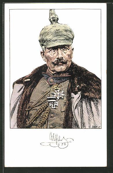 Künstler-AK Angelo Jank: Portrait vom Kaiser Wilhelm II. mit Pickelhaube