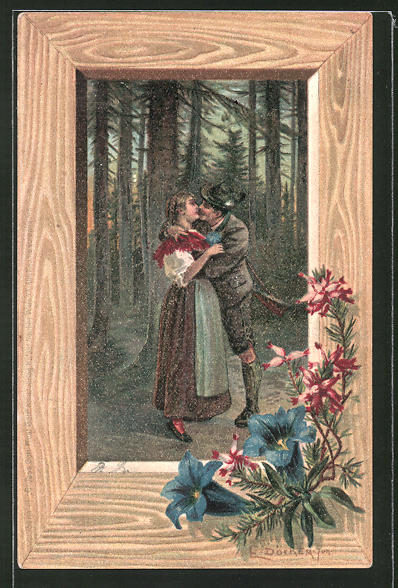 Künstler-AK E. Döcker: Mann in Lederhose küsst Frau in Tracht