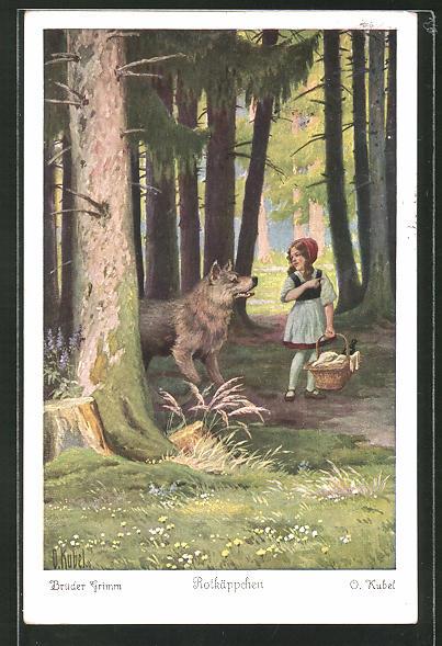 Künstler-AK Otto Kubel: Rotkäppchen erzählt dem Wolf wohin sie geht