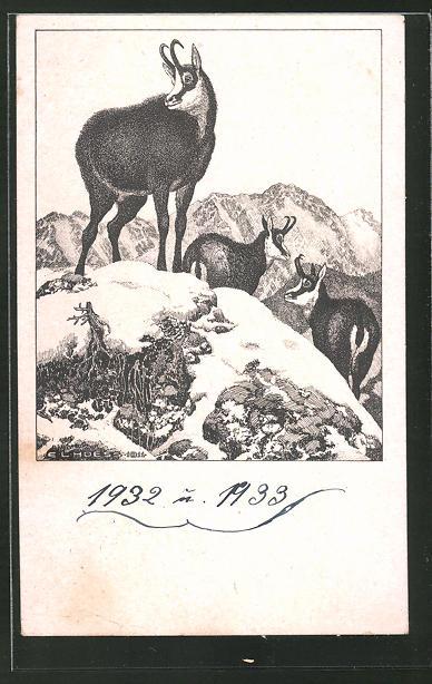 Künstler-AK Eugen Ludwig Hoess: Auf luftiger Höhe, Ziegenböcke im Schnee auf einem Berg