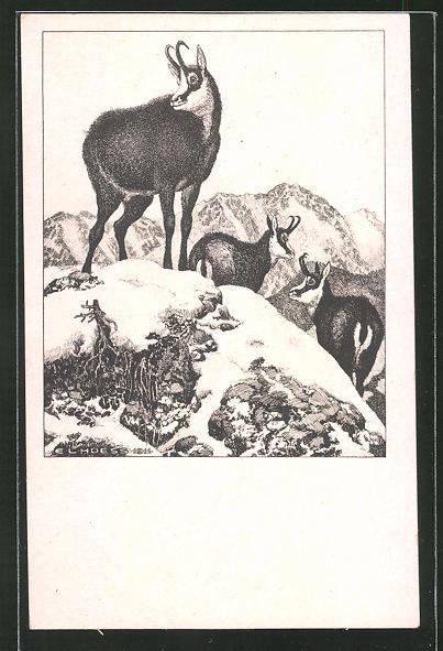 Künstler-AK Eugen Ludwig Hoess: Auf luftiger Höhe, Ziegenböcke auf einem Berg im Schnee