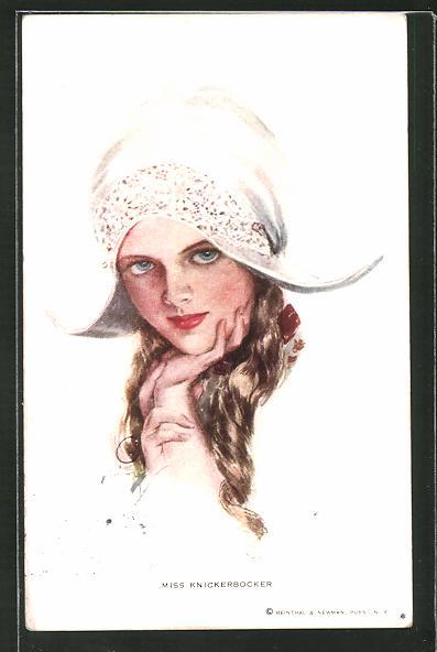 Künstler-AK Harrison Fisher: Miss Knickerbocker, Frau mit Kopfbedeckung