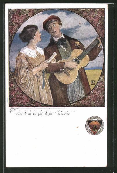 Künstler-AK Karl Friedrich Gsur: Deutscher Schulverein Nr.459: Mann und Frau singen gemeinsam