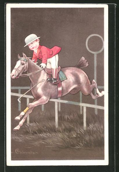 Künstler-AK E. Colombo: Junge auf einem Pferd bei einem Sprung