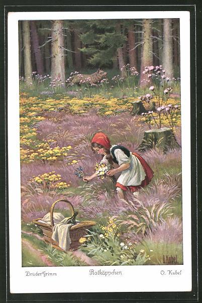 Künstler-AK Otto Kubel: Rotkäppchen beim Blumen pflücken für ihre Grossmutter
